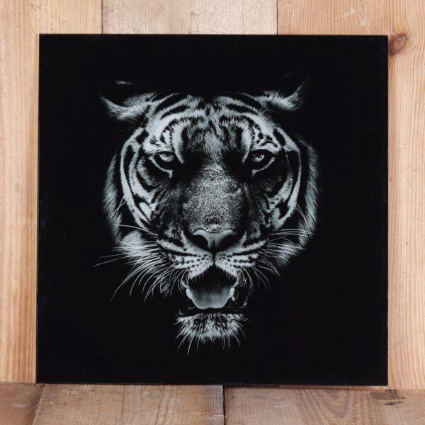 Geprint tijger op glas